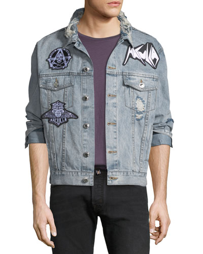 Men's Light-Wash Denim Patched Jacket