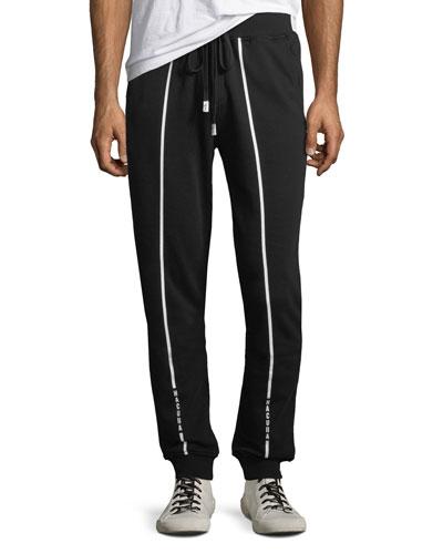Men's Contrast-Trim Cotton Jogger Pants