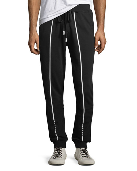 Men's Contrast-Trim Cotton Jogger Pants