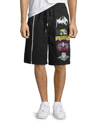 Men's Patched Cotton Shorts