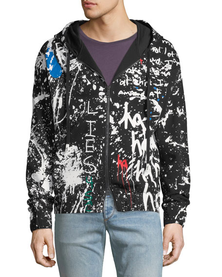 Men's Painted Canvas Zip-Front Hoodie