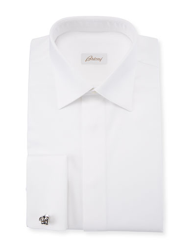 Men's Geometric-Weave French-Cuff Formal Shirt