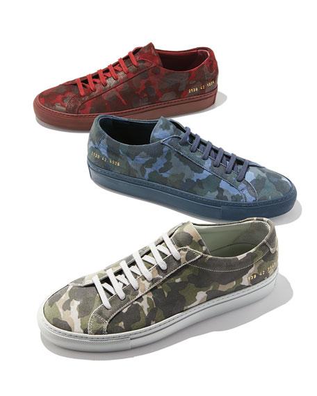 Men's Achilles Camo Suede Low-Top Sneakers, Blue