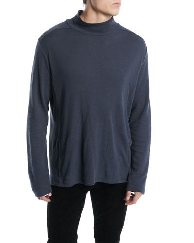 Men's Waffle-Knit Cotton Turtleneck Sweater