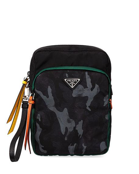 Prada Men's Tessuto Double-Pocket Patch Pouch Bag