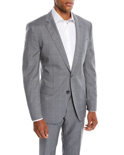 Men's Two-Tone Windowpane Wool Two-Piece Suit