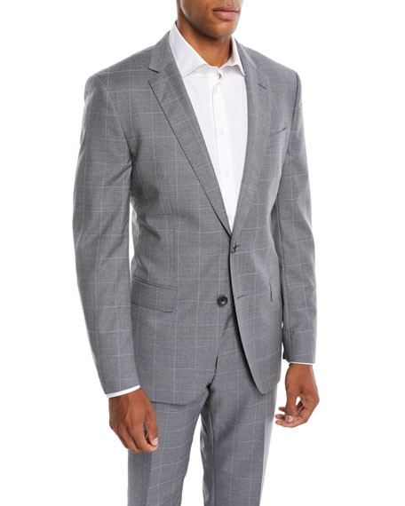 BOSS Men's Two-Tone Windowpane Wool Two-Piece Suit