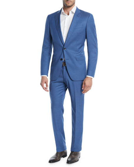 Men's Bright Solid Two-Piece Wool Suit