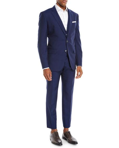 Men's Tonal Grid Wool Three-Piece Suit