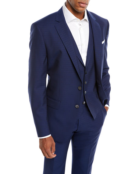 BOSS Men's Tonal Grid Wool Three-Piece Suit