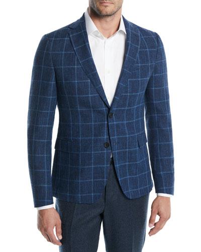Large Plaid Wool-Cotton Jacket