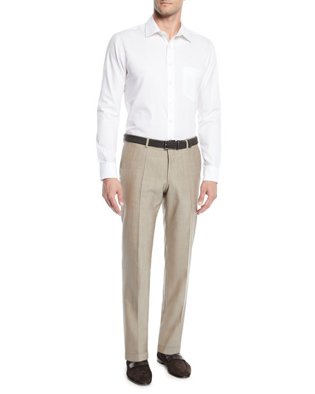 Men's Wool Straight-Leg Trousers