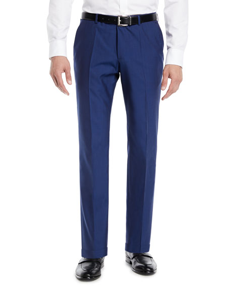 BOSS Men's Wool Flat-Front Pants