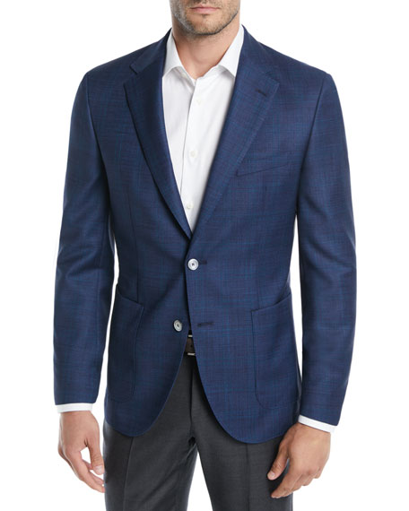 BOSS Windowpane Wool Two-Button Blazer Jacket