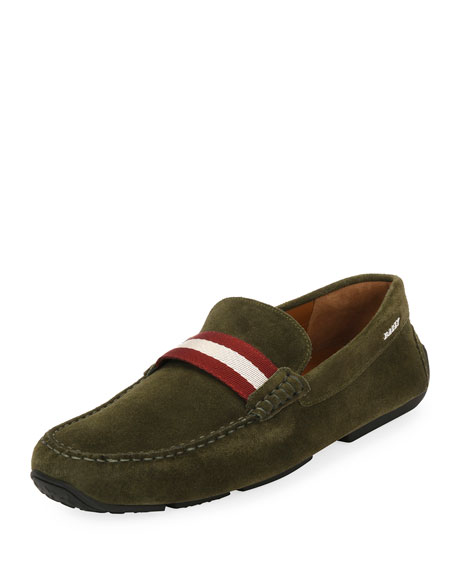 Bally Men's Pearce Suede Driver with Web Strap