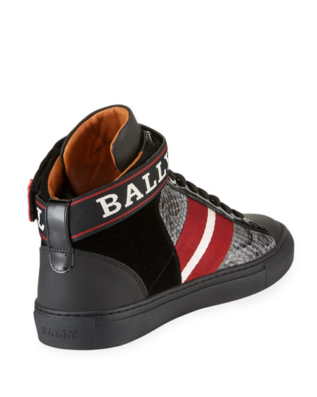 Men's Heros Snake-Trim High-Top Sneakers with Ankle Grip-Strap