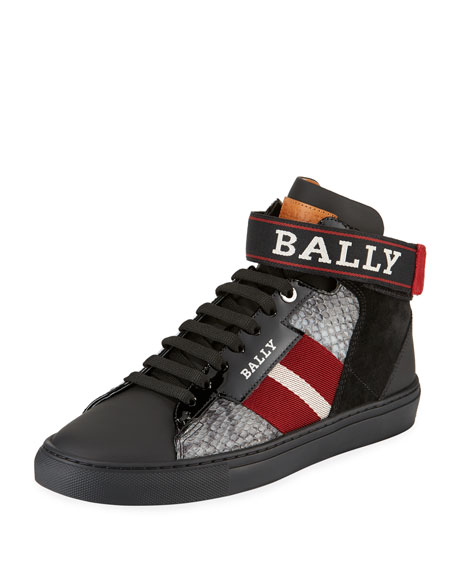 Bally Men's Heros Snake-Trim High-Top Sneakers with Ankle