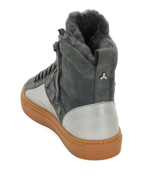 Men's Hekem Fur-Lined Suede High-Top Sneakers