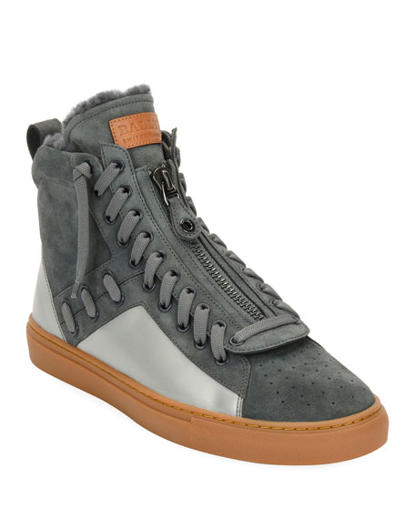 Bally Men's Hekem Fur-Lined Suede High-Top Sneakers