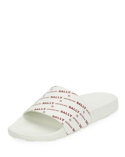 Men's Slanter Logo-Print Pool Slide Sandal