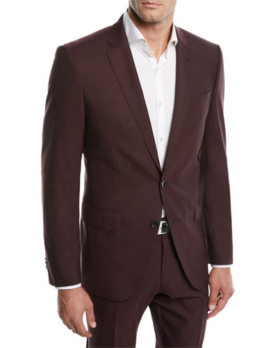 Men's Huge Genius Solid Slim-Fit Two-Piece Wool Suit