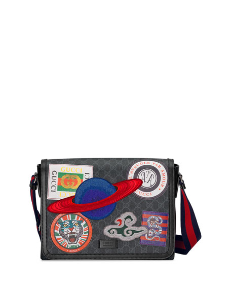 Gucci Men S Supreme Gg Canvas Messenger Bag With Planet Patches Neiman Marcus