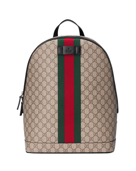 Gucci Men's GG Supreme Web Backpack with Laptop