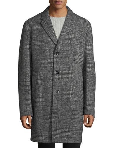 Men's Block Plaid Wool Top Coat