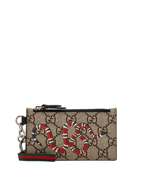 Gucci Men's Kingsnake Zip-Around Wallet with Strap