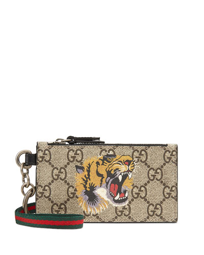Men's GG Supreme Zip-Top Card Wallet with Tiger