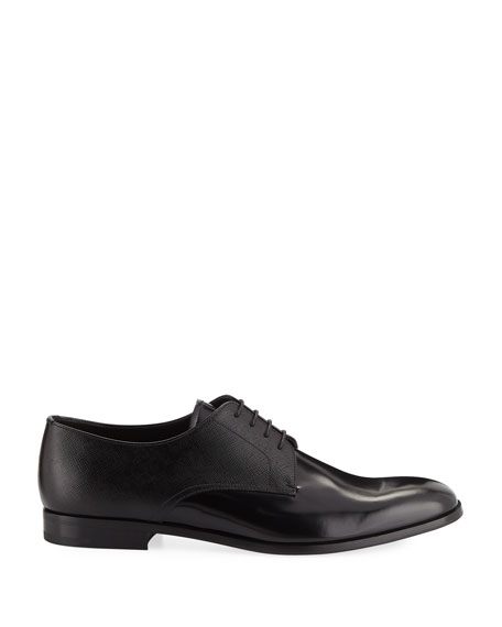 Men's Spazzolato Saffiano Leather Lace-Up Oxfords