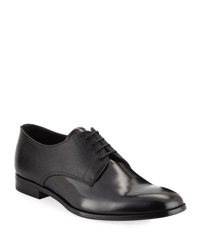 Men's Spazzolato Saffiano Leather Lace-Up Oxfords