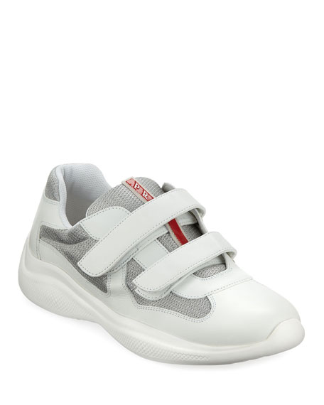 Prada Men's America's Cup Sneakers with Double Grip-Strap