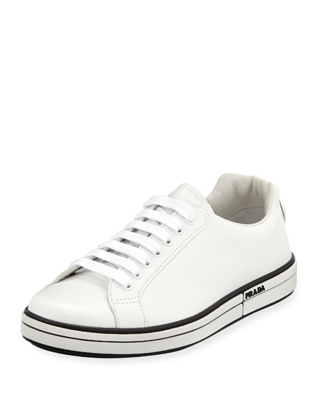 Prada Men's Avenue Plume Leather Low-Top Sneakers