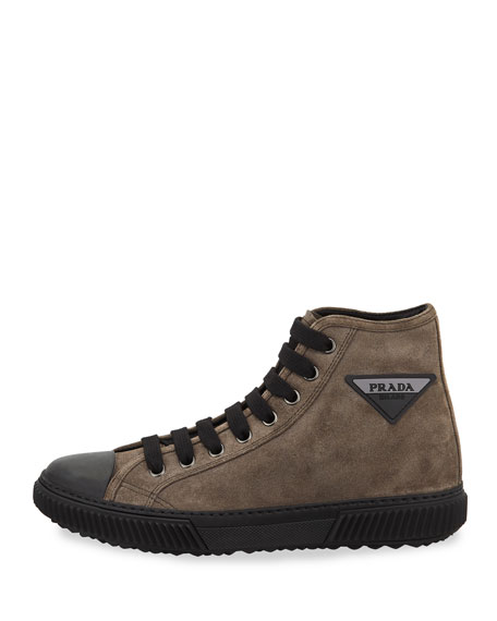 Men's Stratus Suede High-Top Sneakers with Triangle Logo
