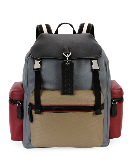 Men's Embossed Multicolor Leather Backpack