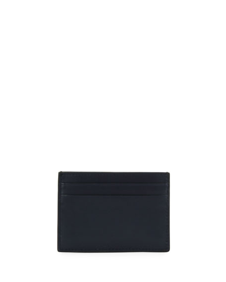 Men's Bhar Leather Card Case with Racing Check, Navy