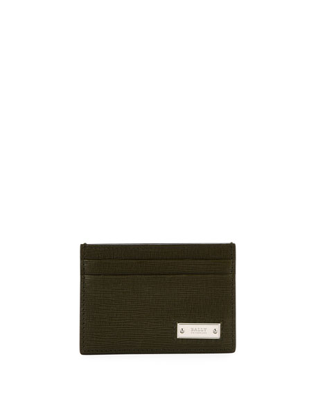 Bally Men's Bhar Leather Card Case, Green