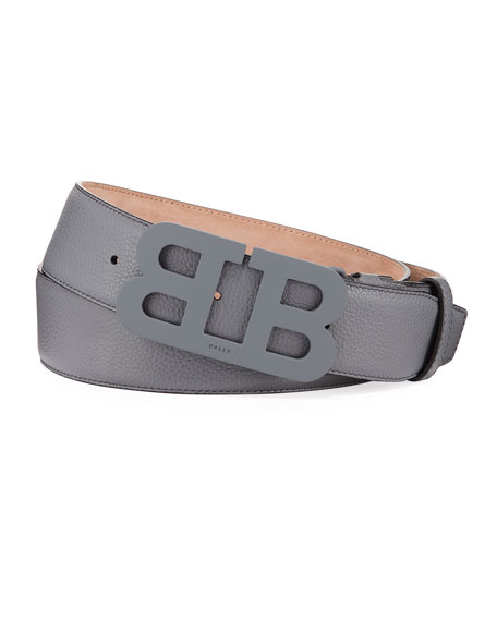 Men's Mirror B Leather Belt, Gray
