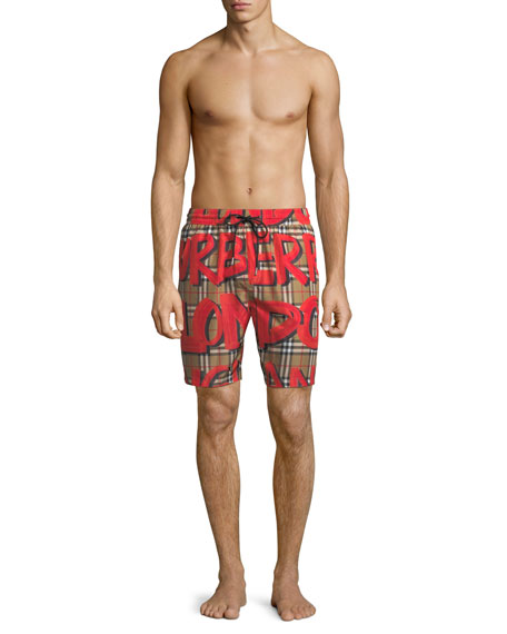 Men's Graphic-Print Check Swim Trunks