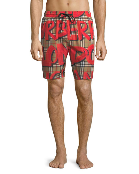 Burberry Men's Graphic-Print Check Swim Trunks