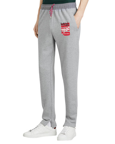 Burberry Men's Check-Patch Sweatpants