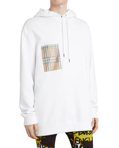 Men's Check-Patch Jersey Hoodie