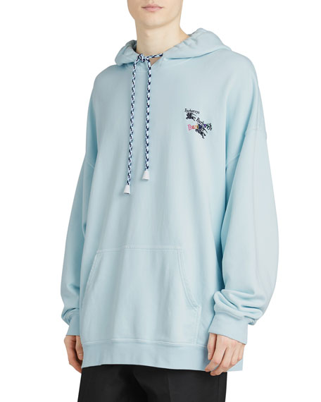 BURBERRY Elison Logo-Embroidered Cotton-Jersey Hoody, Blue