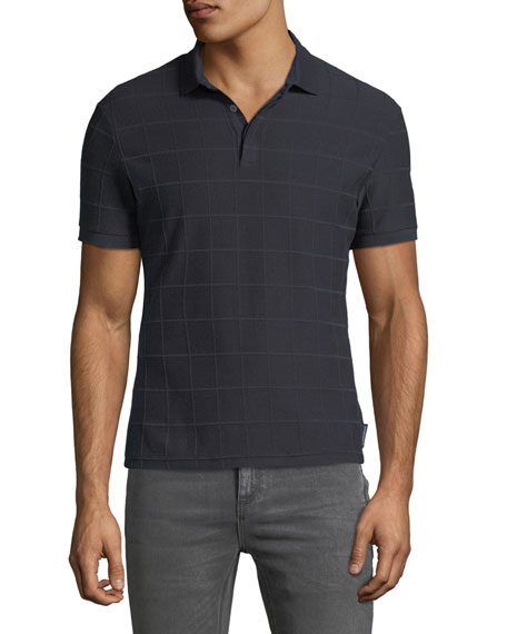Men's Tonal Grid-Pattern Polo Shirt