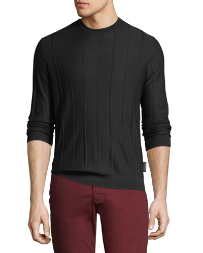 Men's Crewneck Long-Sleeve Vertical Tonal-Stitch Wool Sweater