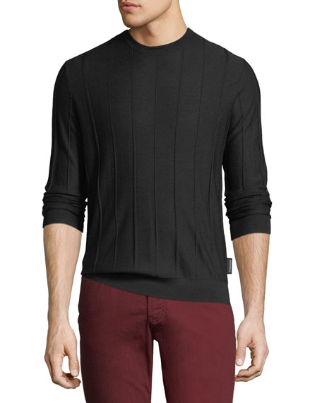 Emporio Armani Men's Crewneck Long-Sleeve Vertical Tonal-Stitch