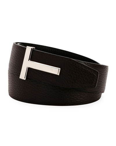T-Buckle Reversible Leather Belt