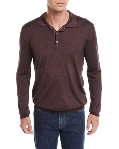 Men's Long-Sleeve Wool/Silk Polo Shirt, Burgundy
