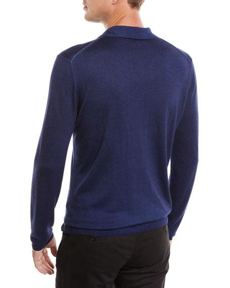 Men's Long-Sleeve Wool/Silk Polo Shirt, Marine Blue